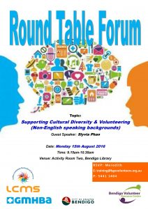 Round Table Forum - Supporting Cultural Diversity & Volunteering